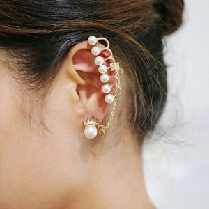 Cuff pearl earrings