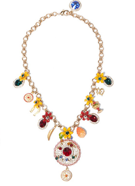 Fruit Jewelry and Flowers Statement Necklace