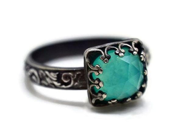 Gemstone Jewelry - Peruvian Blue Opal ring