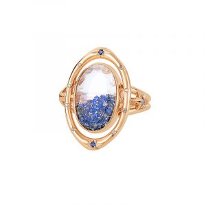 Gemstone Jewelry - Champagne diamonds and blue sapphires set in and enclosed in double white sapphires in 18-k rose gold