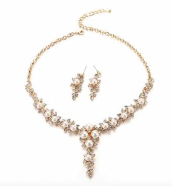 FAYBOX Glamorous Crystal Rhinestone Beading Necklace Earrings Wedding Jewelry Sets