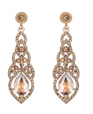 mecresh Austrian Crystal Rhinestone Bridal Wedding Dangle Earrings for Women in Silver Gold Black Champagne Blue
