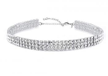 Zealmer Daycindy 3 Rows Clear Rhinestone Choker Necklace for Women