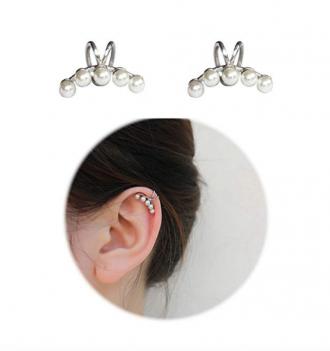Sterling Silver Non Piercing Earrings 5 Pearls Clip Cuff Wrap Earrings for Women