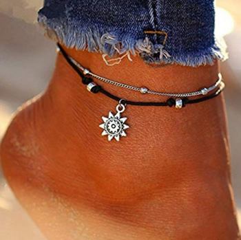 Afco Girls Boho Double Layer Anklet Sun Pendent Charm Women Foot Chain Ankle Bracelet Dress Accessory (Silver)