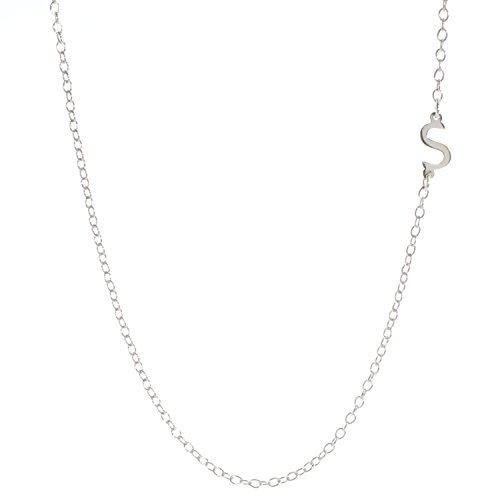 925 Sterling Silver Initial Bar Necklace, 16-18 Inches, Strong Lobster Clasp