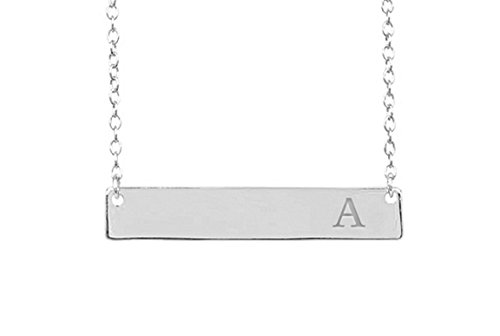 925 Sterling Silver Initial Bar Necklace with Strong Lobster Clasp