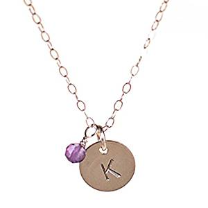 Initial Necklace with Birth Month Charm