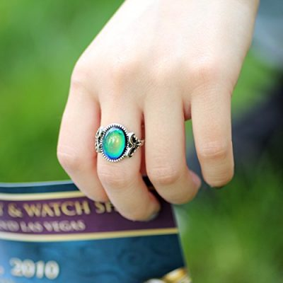 Gothic Flower Pattern Antique Sterling Silver Plating Oval Stone Color Change Mood Ring MJ-RS008
