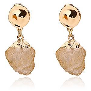 Bemi Elegant Gold Plated Alloy Irregular Natural Stone Clip On Earrings
