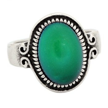 Classic Pattern Antique Sterling Silver Plating Oval Stone Color Change Mood Ring MJ-RS009