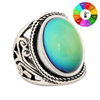 Mood Ring Changing Color for Adults Antique Sterling Silver Vintage Statement Rings Women RS019