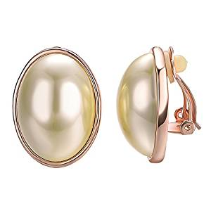 Yoursfs Ivory Pearl Yellow Gold Plated Round Clip Earrings