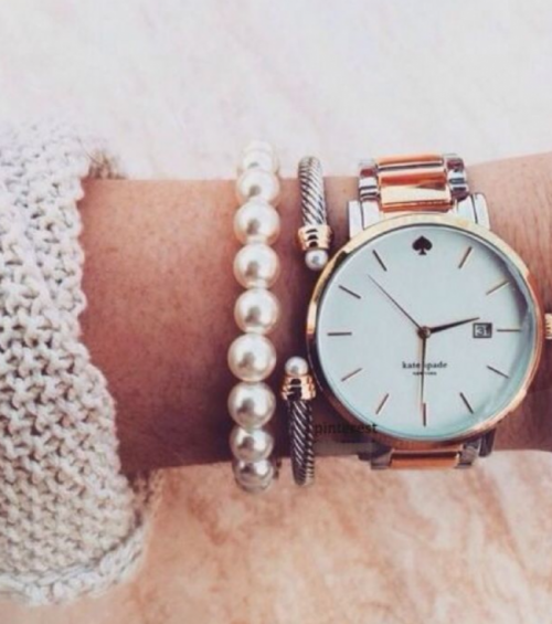 Rose gold watch and pearl and silver bracelet