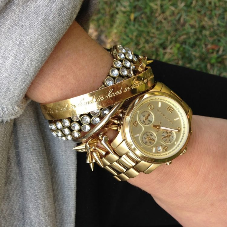 mixing gold and silver watch and bracelets