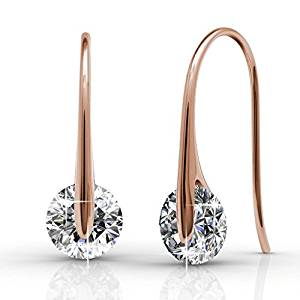Cate & Chloe McKayla 18k White Gold Dangling Earrings with Swarovski Crystal,