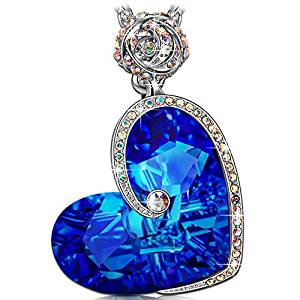 J.NINA Rose Heart Necklace Aphrodite Jewelry with Exquisite Package, Crystals from Swarovski, Engraved with I love you