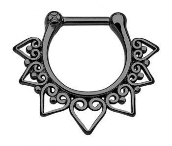 Pierced Owl 100% Surgical Steel Tribal Fan Septum Clicker Ring 16g - Choose Steel, Gold Tone or Black