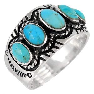 December Stone - Silver Gemstone Ring with Genuine Turquoise