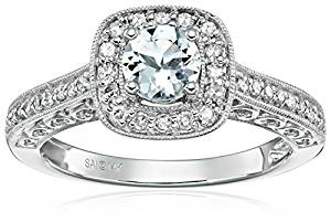 Amazon Collection 14k White Gold Aquamarine and Diamond Ring (1/4 cttw, H-I Color, I2-I3 Clarity)