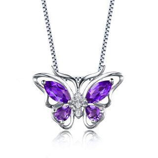 Aurora Tears Purple Created Amethyst Butterfly Birthstone Water Drop Pendant Necklace