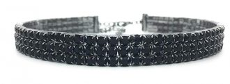 Black Rhinestone Choker 3 5 8 Row by LuxeLife – Women's Crystal Necklace