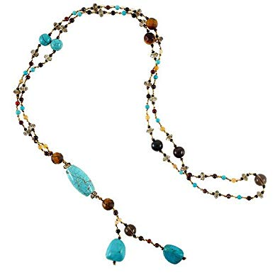 Chuvora Gemstone Beads Y Drop Opera Length Long Necklace, 28 inches