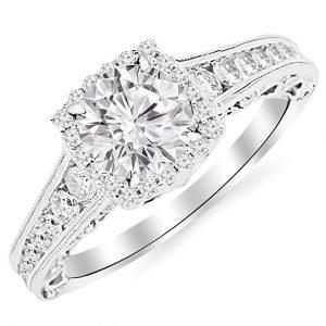 Houston Diamond District 1.35 Carat Princess Cut Designer Four Prong Round Diamond Engagement Ring (D-F Color, VS2-SI1 Clarity Center Stone)