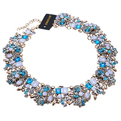 Jerollin Vintage Gold Tone Chain Multi-Color Glass Crystal Collar Choker Statement Bib Necklace