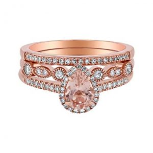 Olivia Paris 14k Rose Gold Pear Morganite