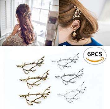 Oopsu 6pcs Minimalist Dainty Gold Silver Metal Hairpin Hair Clip Clamps