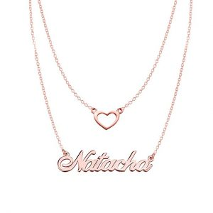 Ouslier 925 Sterling Silver Personalized Double Chain Name Necklace with Heart Pendant