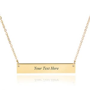 Personalized Stainless Steel Horizontal Bar Necklace Pendant 5 Colors with Chain