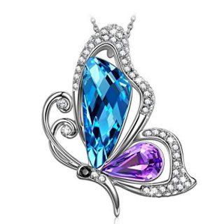 SIVERY 'Butterfly Kiss' Jewelry Necklace Blue Green Swarovski Crystal, Jewelry Women Gifts Mom