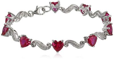 Sterling Silver Created Blue Sapphire and Diamond Accent Heart Wave Bracelet