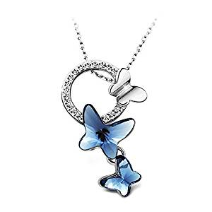 T400 Jewelers Butterfly Pendant Necklace, Dream Chasers Swarovski Elements Crystal Necklace Love Gift