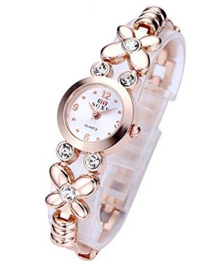 Top Plaza Fashion Womens Girls Crystal Accented Flower Design Rose Gold Metal Luxury Bracelet Watch