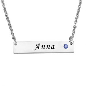 Valyria Stainless Steel Personalized Bar Necklace with Birthstones