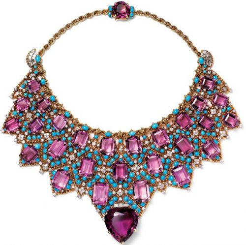 amethyst and turquoise bib necklace