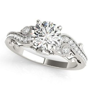 0.5 Ct. Halo Round Cut Antique Diamond Engagement Ring For Women |4 Prong 14K Solid White Rose Yellow Gold | 1/2 ctw Genuine Diamond Wedding Jewelry Collection