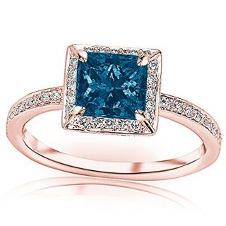 1.3 Carat t.w 14K White Gold Victorian Halo Style Square Shaped Pave Set Round Diamond Engagement Ring w/ a 1 Carat Princess Cut Blue Diamond Heirloom Quality