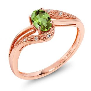 10K Rose Gold 0.54 Ct Green Peridot and Diamond Engagement Bypass Ring (Available 5,6,7,8,9)