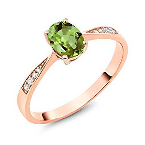 10K Rose Gold Green Peridot and Diamond Women's Ring 0.86 Ctw Oval (Available 5,6,7,8,9)