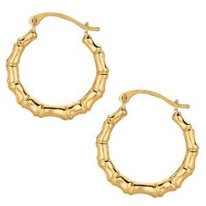 10k Yellow Gold Shiny Bamboo Round Hoop Earrings, Diameter 18mm