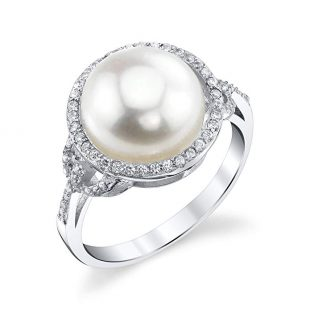 11-12mm Genuine White Freshwater Cultured Pearl & Cubic Zirconia Ring for Women