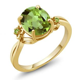 14K Yellow Gold Green Peridot Ring 3.04 Cttw Oval Available in (Available 5,6,7,8,9)