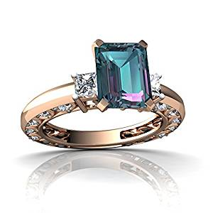 14kt Gold Lab Alexandrite and Diamond 8x6mm Emerald_Cut Art Deco Ring