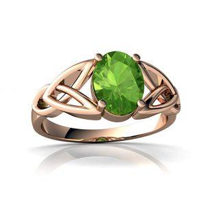 14kt Gold Peridot 8x6mm Oval Celtic Trinity Knot Ring