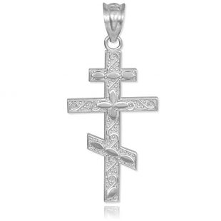 925 Sterling Silver Russian Orthodox Cross Pendant