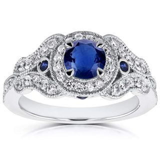 Antique Milgrain Sapphire and Diamond Engagement Ring 1 Carat (ctw) in 14k White Gold